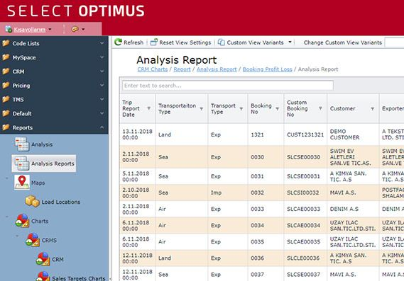 Select Optimus Report Screenshot